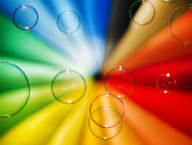 Soap bubbles and multi-coloured background Royalty Free Stock Photography