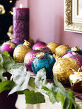 Multi coloured baubles Royalty Free Stock Images