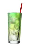 Multi coloured beverage. Cocktail and steerer. Multi coloured beverage. Cocktail including steerer isolated on white background. Clipping path included Royalty Free Stock Photography