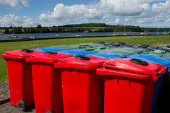 Multi-coloured bins. Stock Photo