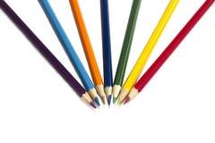 Multi-coloured blyertspennor, baksidt till skolan Arkivbild