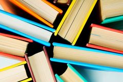 Multi-coloured books from above. Close up. Stock Image
