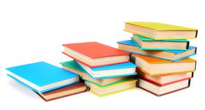 Multi-coloured books. On white background. Royalty Free Stock Photography