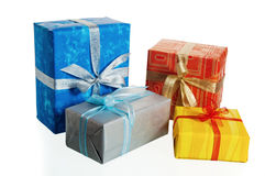 Multi-coloured boxes with gifts Stock Images
