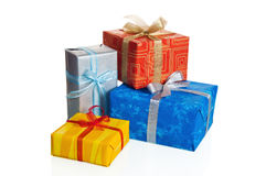 Multi-coloured boxes with gifts Stock Photos