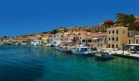 Multi-coloured buildings of Halki Island (Chalki) Royalty Free Stock Photos