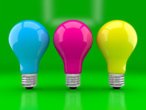 Multi-coloured bulbs Stock Photos