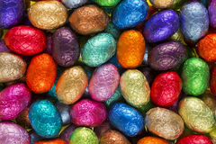 Multi-coloured chocolate Easter eggs Royalty Free Stock Photo