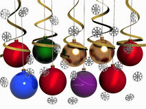 Multi-coloured Christmas balls with snowflakes. Multi-coloured balls hang with ribbons. Snowflakes fall. 3 dimensional model Royalty Free Stock Photos