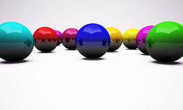 Multi-coloured chrome balls background. 3d render stock illustration