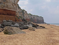 Multi coloured cliffs at Hunstanton. The cliffs at Hunstanton are a famous geological location Royalty Free Stock Photos