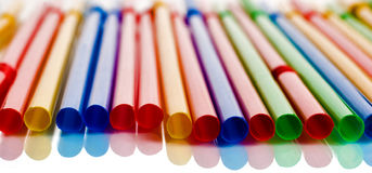 Multi-coloured cocktail straws Royalty Free Stock Photos