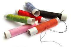 Multi-coloured coils of sewing threads Stock Photography