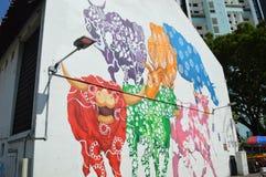 Multi coloured cow mural near Buffalo street in Little India Singapore Stock Photo