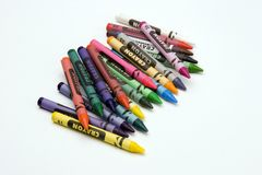 Multi Coloured Crayons. Set against a plain backgrund Royalty Free Stock Photo