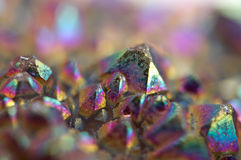 Multi-coloured crystals macro. Abstract background stock image