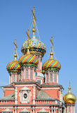 Multi-coloured cupolas of russian orthodox church Royalty Free Stock Photography