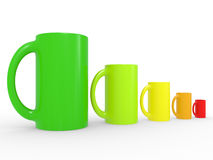 Multi coloured cups Stock Images