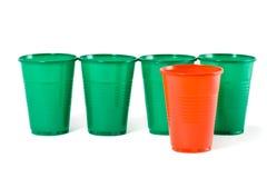 Multi-coloured disposable plastic glasses Royalty Free Stock Photo