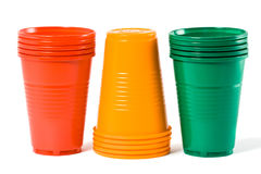 Multi-coloured disposable plastic glasses Royalty Free Stock Photography