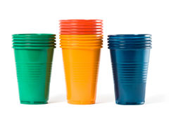 Multi-coloured disposable plastic glasses Royalty Free Stock Images