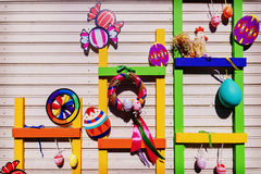 Multi-coloured Easter composition and decoration Royalty Free Stock Photo