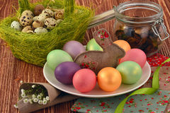 Multi-coloured Easter eggs. Easter eggs on a wooden background Royalty Free Stock Image