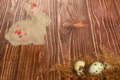 Multi-coloured Easter eggs. Easter eggs on a wooden background Royalty Free Stock Photos