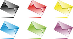 Multi-coloured envelopes Royalty Free Stock Images