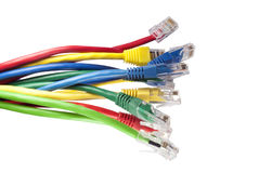 Multi coloured ethernet network cables Royalty Free Stock Photos