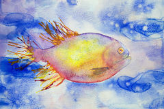Multi coloured fantasy fish swimming in blue water. The dabbing technique gives a soft focus effect due to the altered surface roughness of the paper Royalty Free Stock Images