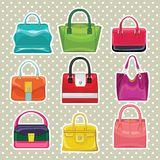 Multi-coloured fashion women's handbag.Big sale Royalty Free Stock Photo