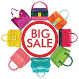 Multi-coloured fashion women's handbag.Big sale Stock Photos