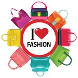 Multi-coloured fashion women's handbag.Big sale Stock Image