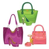 Multi-coloured fashion womens handbag.Big sale Stock Photo
