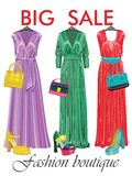 Multi-coloured fashion womens handbag.Big sale. Set of Multi-coloured fashion womens handbag standing in front on a black background.Casual and festive.Proverb Stock Images
