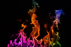 Multi-coloured Fire on a black background. stock image