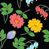 Multi-coloured flowers on black background. Seamless figure.There is vector variant of drawing royalty free illustration