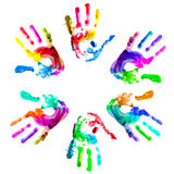 Multi coloured handprints. Royalty Free Stock Photos