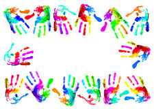 Multi coloured handprints Royalty Free Stock Photos