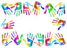 Multi coloured handprints Stock Photos