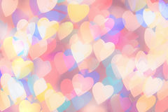 Multi-coloured heart shaped bokeh background. Colorful bokeh for card background Royalty Free Stock Images