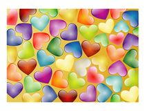 Multi-coloured hearts Stock Photo