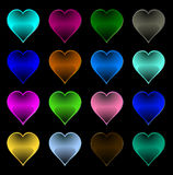 Multi-coloured hearts. Romantic pictogram;: multi-coloured hearts Stock Photos