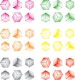 Multi-coloured kubusreeks Stock Afbeelding