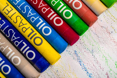 Multi Coloured Oil Pastels Stock Photo