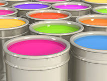 Multi-coloured paints Royalty Free Stock Image