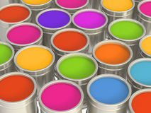 Multi-coloured paints Royalty Free Stock Photo