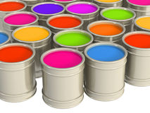 Multi-coloured paints Stock Photos