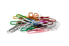 Multi-coloured paper clips Stock Photos